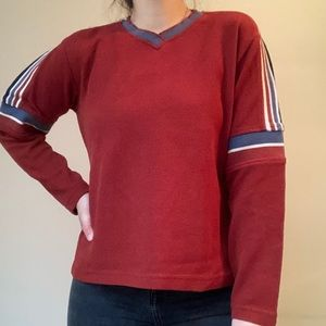 Red + Blue + White V-Neck Long Sleeve